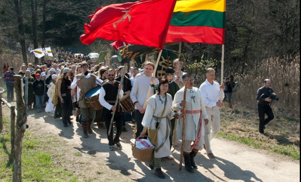 A Romuvan religious pagan group procession in Lithuaina in 2009. Wikipedia