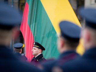 Raising Lithuanian flag