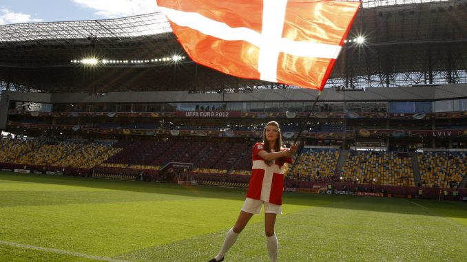 With the Danish flag