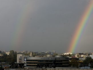 Two rainbows in the Vilnius sky line
