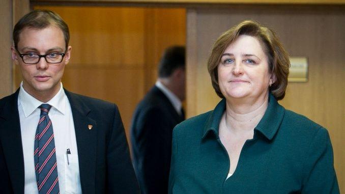 Mantvydas Bekešius with Parliament Speaker Loreta Graužinienė
