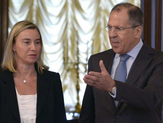 Federica Mogherini and Russian Foreign Minister Sergey Lavrov