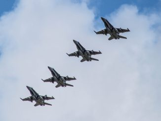 """Royal Canadian Air Force F-18 """"Hornet"""" jets in Lithuanian sky"""