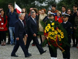 President Joachim Gauck of Germany and President Bronislaw Komorowski of Poland commemorate the start of World War Two