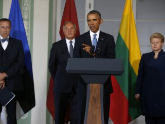 US President Obama with the Baltic states Presidents at a press conference in Tallinn