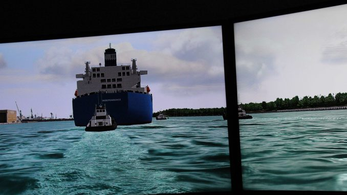 Mock arrival of the Independence LNG facility to the Klaipėda Port