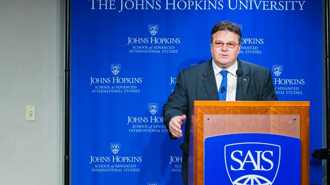 Foreign Minister Linas Linkevičius addresses the audience at the John Hopkins School for Advanced International Studies  Photo Ludo Segers