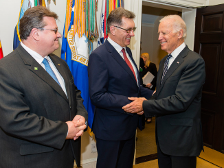 Vice President Joe Biden greets PM Butkevičius and the Foreign Minister Linkevičius in the White House