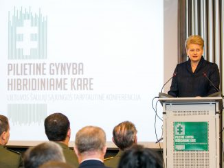 a conference Civil Defence in Hybrid Warfare held by the Lithuanian Riflemen's Union