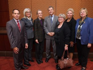 L to R: Ukrainian National Information Service rep. Michael Sawkiw, American-Latvian Union rep. Ausma Tomevics, US-Lithuanian Community rep. Asta Banionytė, Senator Sherrod Brown (D-OH), Belarus-American Union rep. Ali