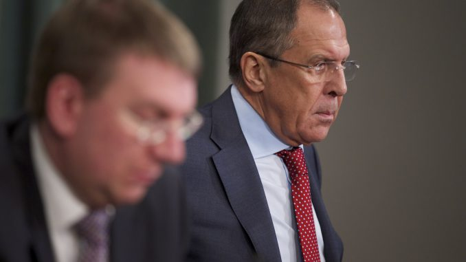Latvian Foreign Minister Edgars Rinkevics and Russian Foreign Minister Sergei Lavrov