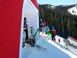 Rokas Zaveckas starts the men's giant slalom race in the 2015 FIS Alpine World Championships at Beaver Creek, Colorado, Friday