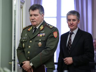 Army Chief Major General Vytautas Jonas Žukas and presidential advisor Valdemaras Sarapinas