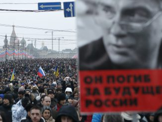 Nemtsov picture at a missive protest in the streets of Moscow