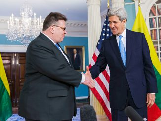 Lithuanian Foreign Minister Linas Linkevičius meeting US Secretary of State John Kerry   Photo Ludo Segers