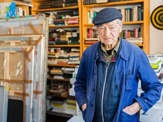 Jonas Mekas in his loft   Photo Ludo Segers