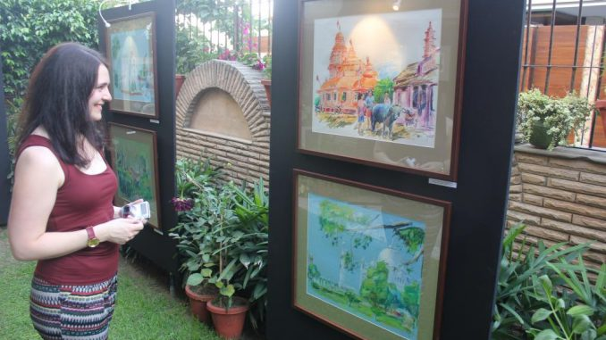 The exhibition showcases around 30 pieces of artwork by a Lithuanian Gintautas Vyšniauskas and an Indian Arijeet Chanda.