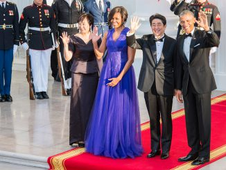 President Obama and Michele with Mr. and Mrs. Abe before the State Dinner Photo Ludo Segers