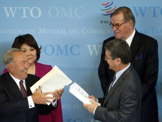 Kazachstano prezidentas Nursultanas Nazarbajevas, PPO vadovas Roberto de Azevedo
