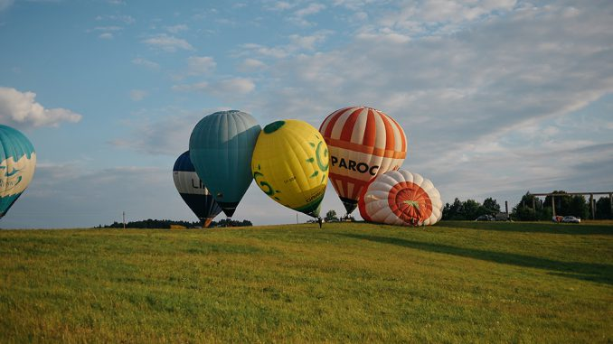 Hot-air balloons in Lithuanian country side
