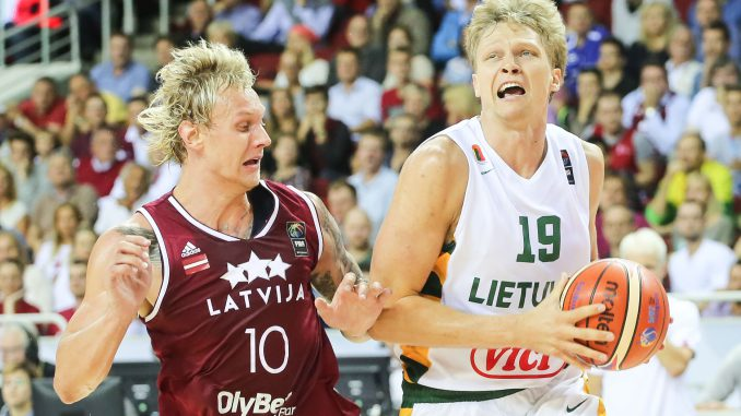 Lithuania's Mindaugas Kuzminskas during Lithuania Latvia basketball game