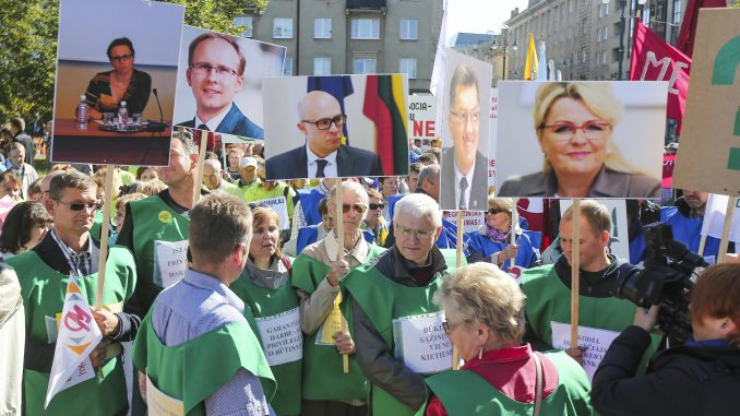 Trade Unions protest meeting in the Front of the Seimas