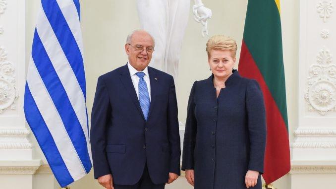 Presentation of credentials by Ambassador Iraklis Asteriadis of Greece. Official photos by Robertas Dačkus