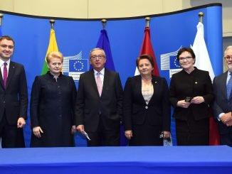 Taavi Roivas, Dalia Grybauskaitė, Jean-Claude Juncker,  Laimduota Straujuma, Ewa Kopacz, Miguel Canetes