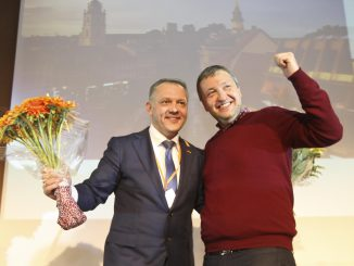 Party chair Eligijus Masiulis and MEP Antanas Guoga