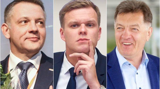 Liberal leader Eligijus Masiulis, conservative leader  Gabrielius Landsbergis and social democrat leader Algirdas Butkevičius