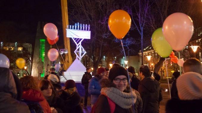 Menorah lit on Kudirkos Square