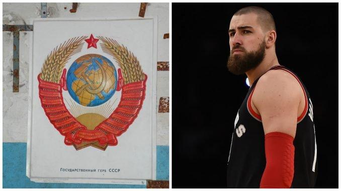 Jonas Valančiūnas next to the USSR's coat of arms