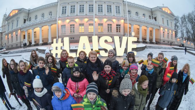 President Grybauskaitė lit the sign #laisve