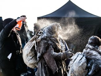 Actors being prepared for scenes in Ashes In The Snow