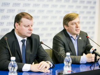 Minister Saulius Skvernelis and Peasants and Greens leader Ramūnas Karbauskis