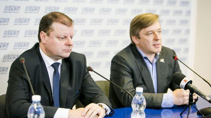 Minister Saulius Skvernelis and Peasants and Greens leader Ramūnas Karbauskis