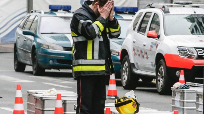 A firefighter in Brussels