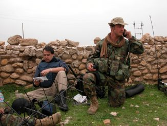 Chris Kline (left) in Ain Sifni, cemetery in north Iraq. Photo KTU