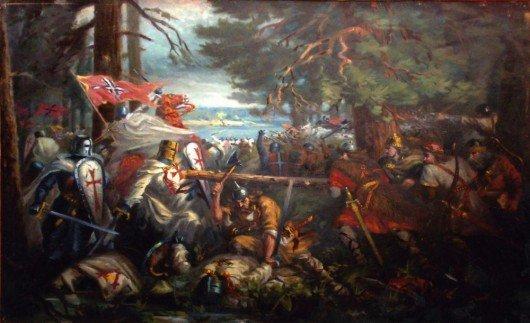 The Battle of Durbė. Painting by Vincas Norkus