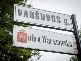 Warsaw str. sign in Polish in Vilnius