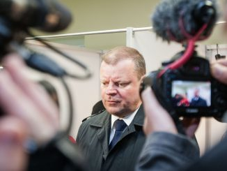 Saulius Skvernelis at a polling station