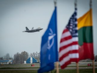 F22 Raptor landing in the Šiauliai air port