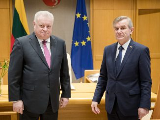 Russian Federation Ambassador Alexander Udaltsov in the Seimas with the Speaker Viktoras Pranckietis