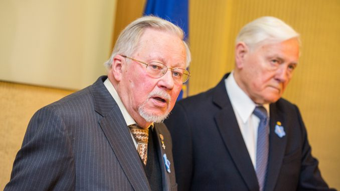 Prof Vytautas Landsbergis and President Valdas Adamkus at the Day of the Defenders of Freedom