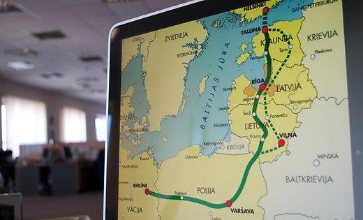 Rail Baltica map in Latvian