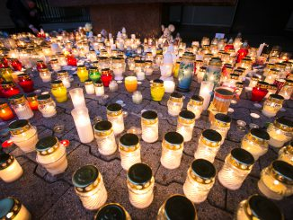 Candles in the front of the Seimas