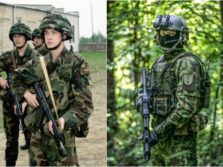 Lithuanian troops in 2003 and 2017