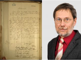 The original copy of Lithuania's Act of Independence of 1918 in Germany's archives and Prof Mažylis
