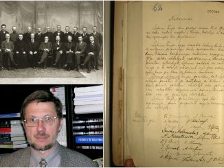 The original copy of Lithuania's Act of Independence of 1918, the signatories and Dr. Mažylis
