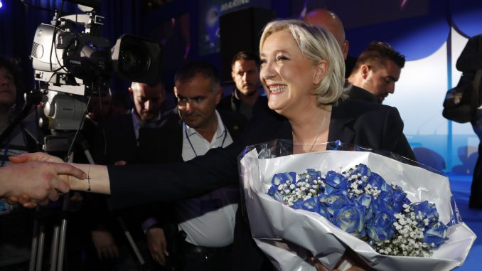 M. Le Pen is celebrating after the first tour